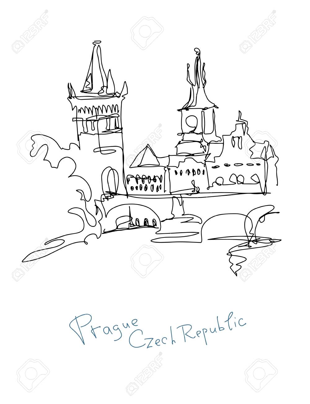 Continuous Line Drawing Of Prague Czech Republic In Minimalistic