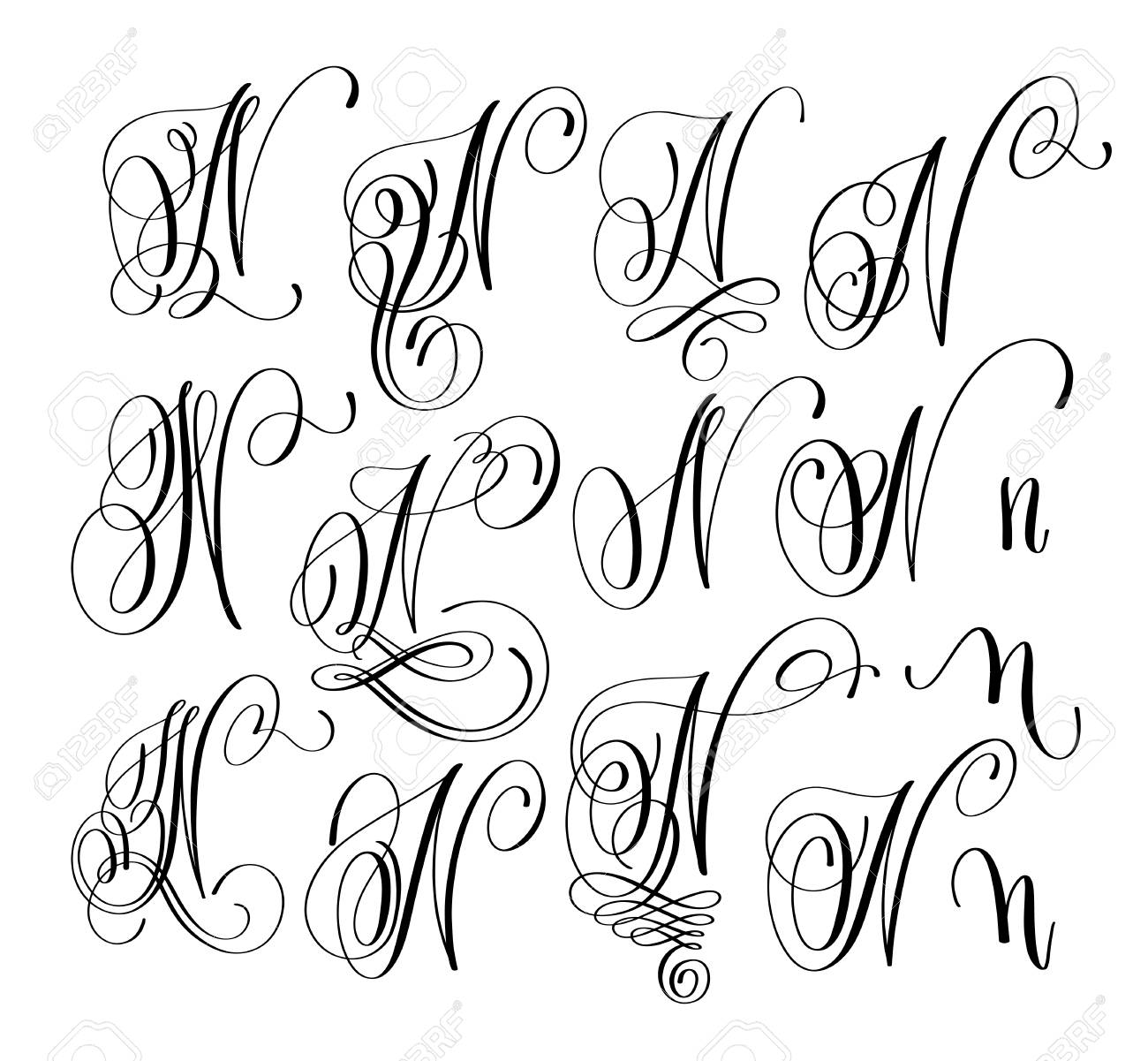 Calligraphy Lettering Script Font N Set Hand Written Signature