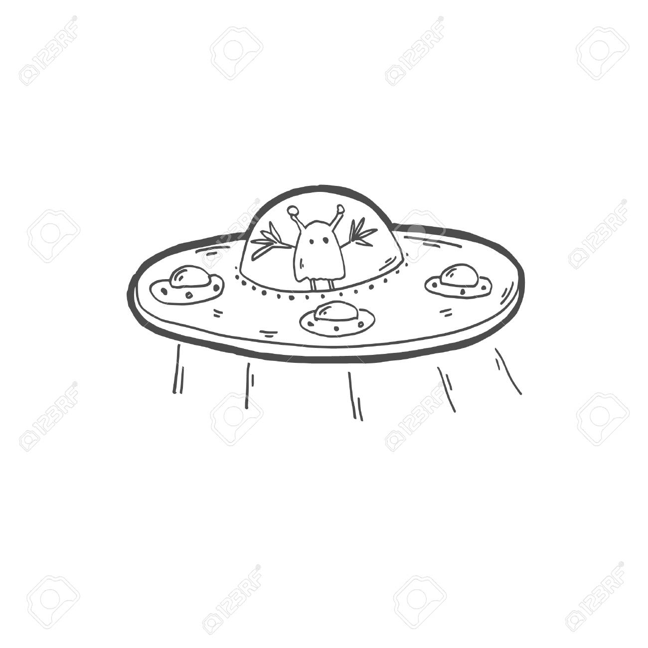 Sketch Drawing Doodle Icon Of Strange Alien In A Flying Saucer Royalty Free Cliparts Vectors And Stock Illustration Image 124679454