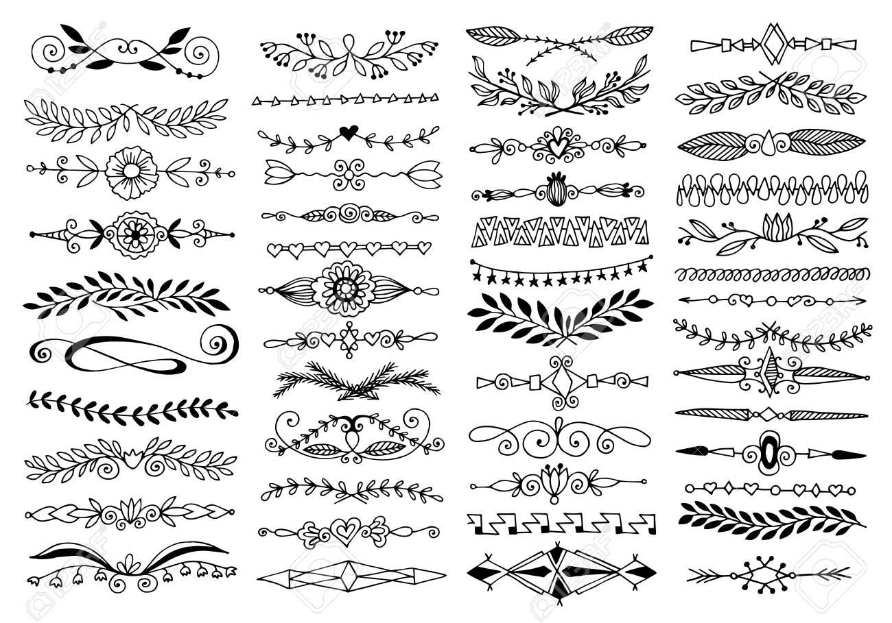 doodle sketch drawing divider, wedding card design element or page decoration - 129701401