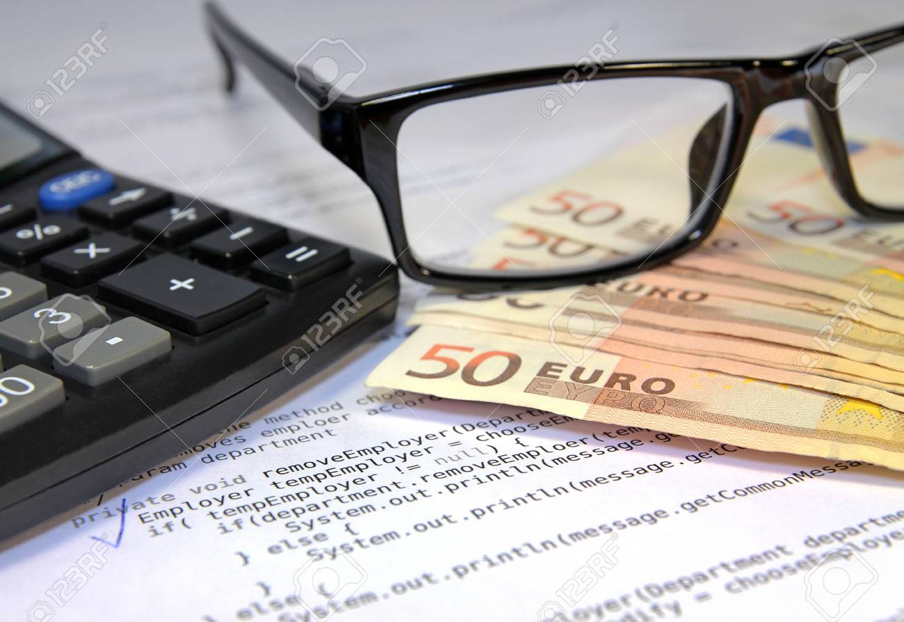 Glasses, calculator, euro and document with code Stock Photo - 22145582
