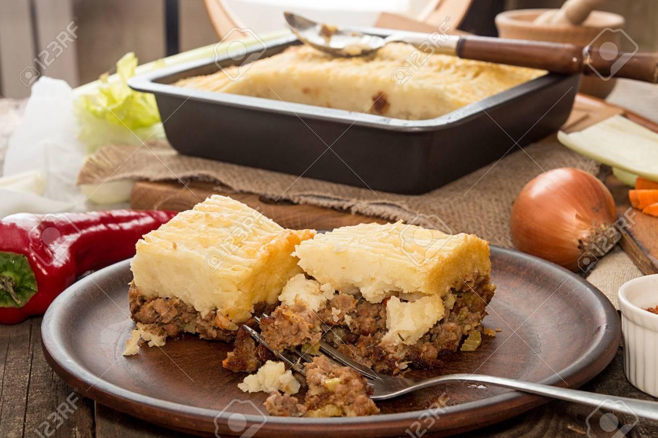 Shepherd\u0027s pie traditional english dish. Pie on plate. Recipe with minced beef lamb & Shepherd\u0027s Pie Traditional English Dish. Pie On Plate. Recipe ...