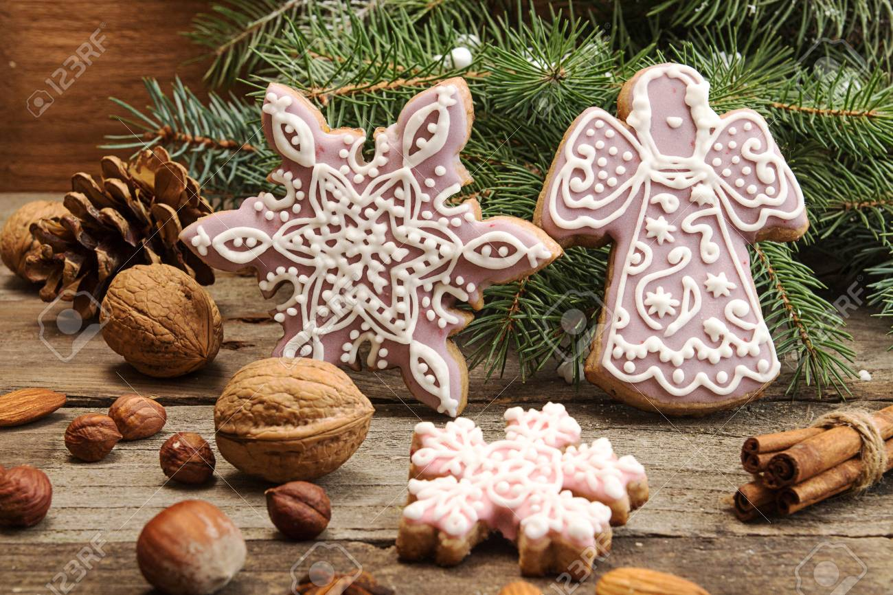 Gingerbread Cookies Snowflakes Angel Fir Tree Branch Christmas New Year Holiday Decor