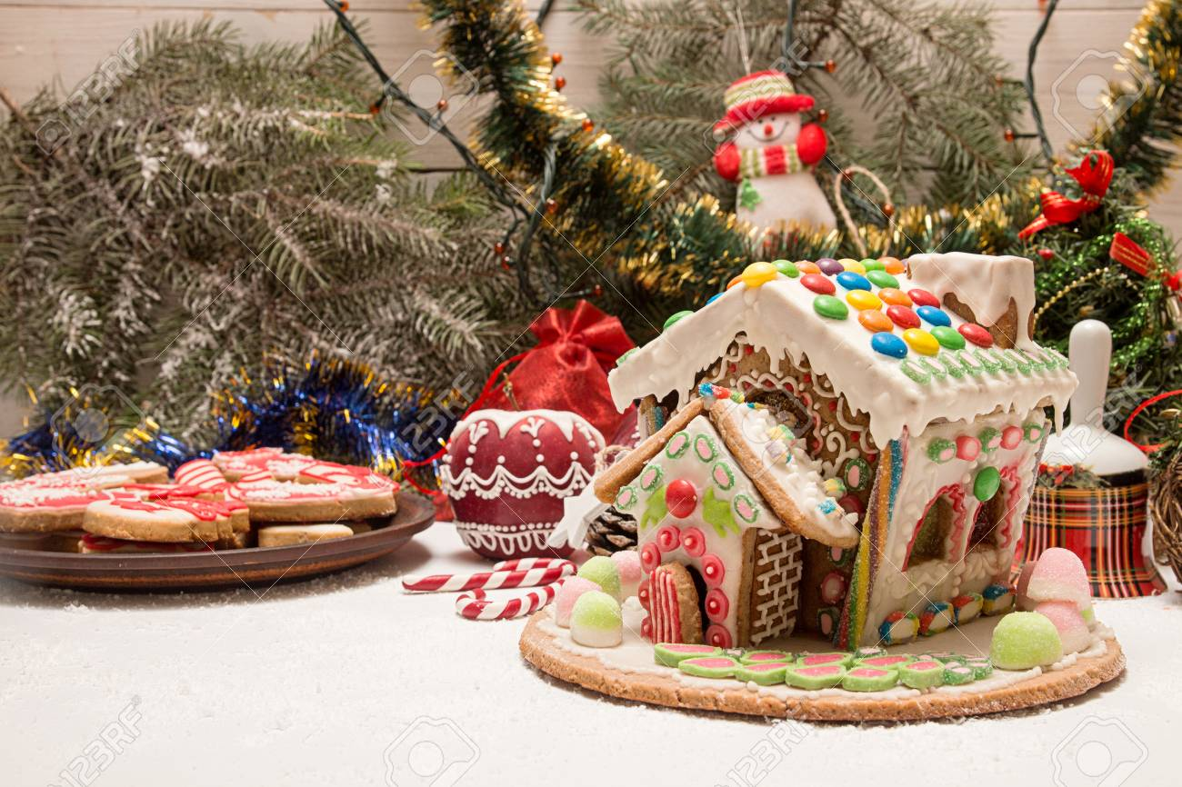 Gingerbread house. Christmas holiday sweets. European Christmas..