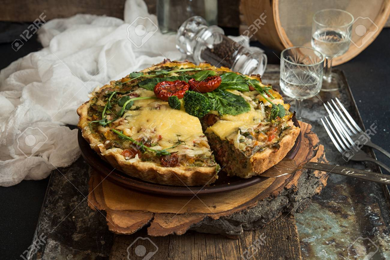 French Opened Pie Quiche With Tuna Chicken Broccoli Spinach Stock Photo Picture And Royalty Free Image Image 99306859