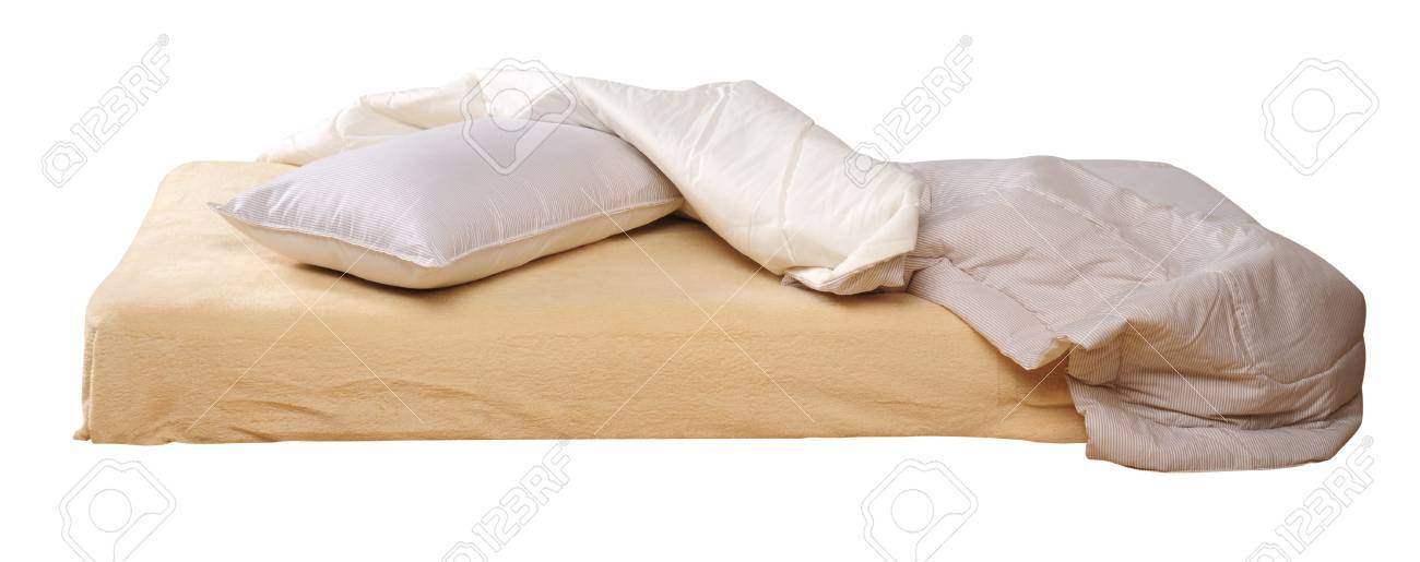 Messy bed. Isolated Stock Photo - 9385770
