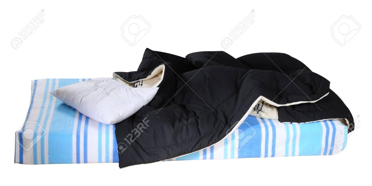 Messy bed. Isolated Stock Photo - 9315443