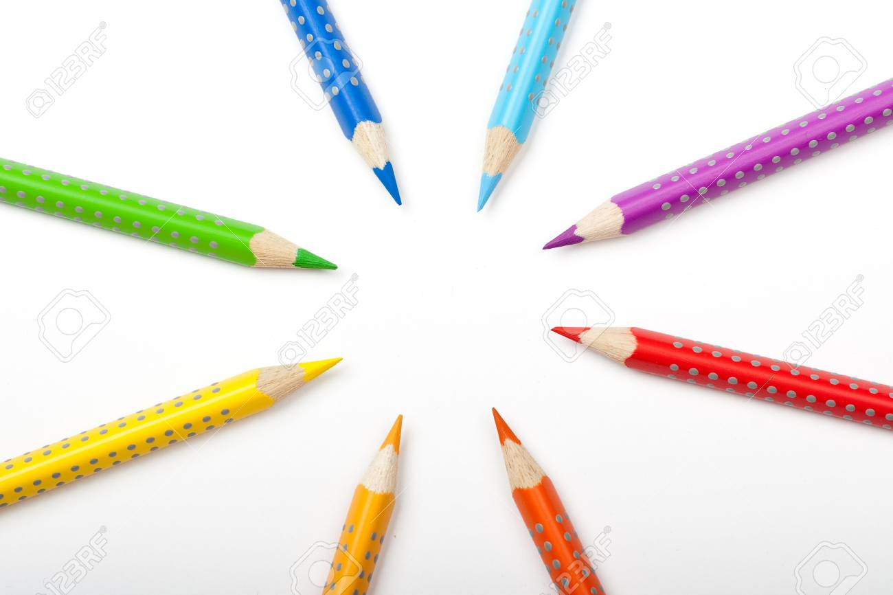 Color pencils aimed to the center Stock Photo - 5726746