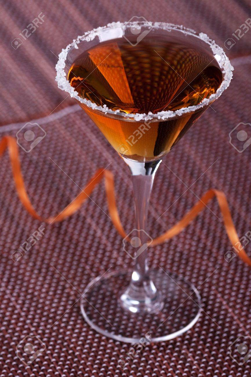 Gold cocktail in martini glass with salt on the rim Stock Photo - 5838163