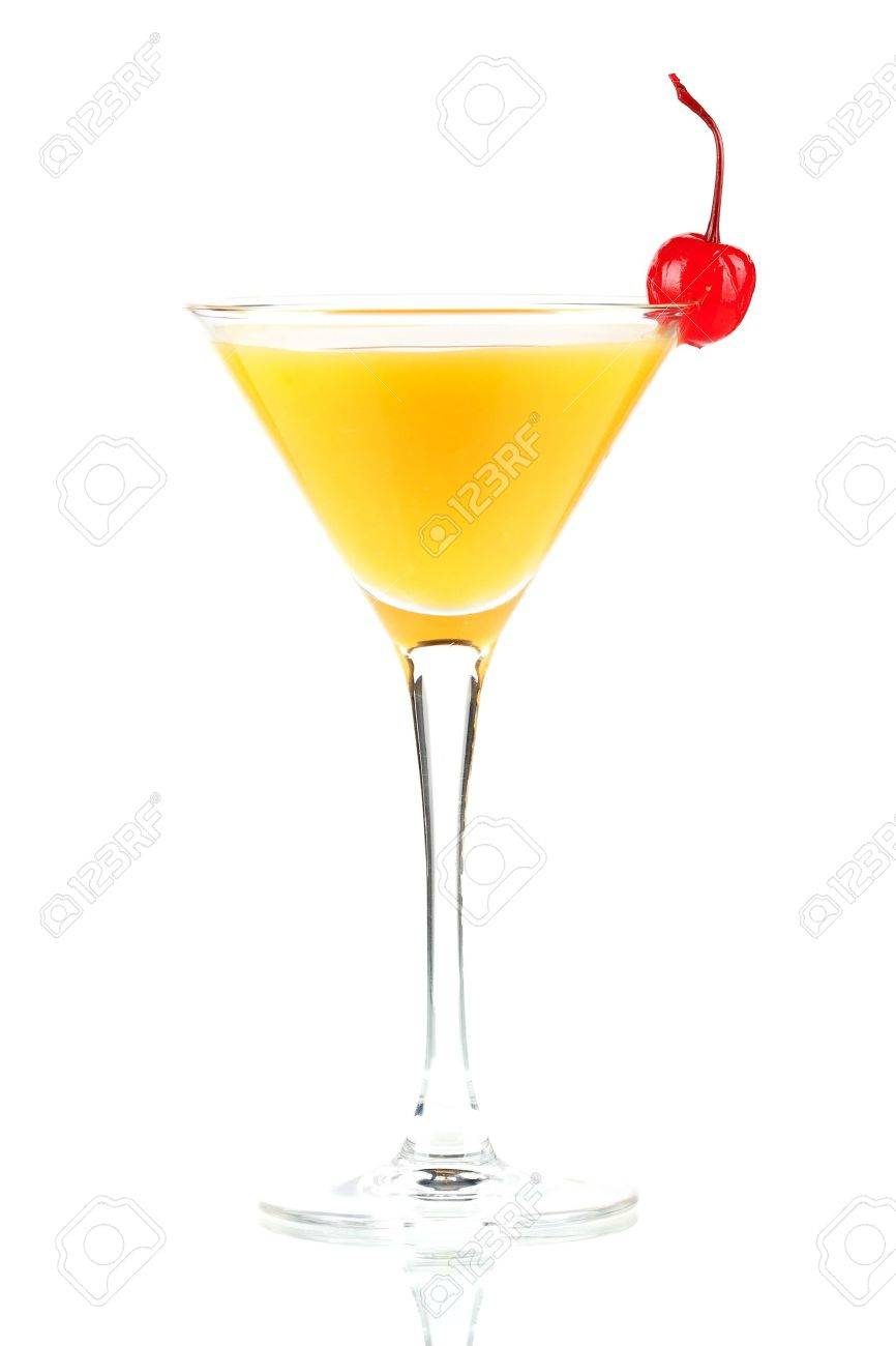 Alcohol cocktail with orange juice and maraschino isolated on white background Stock Photo - 5886937