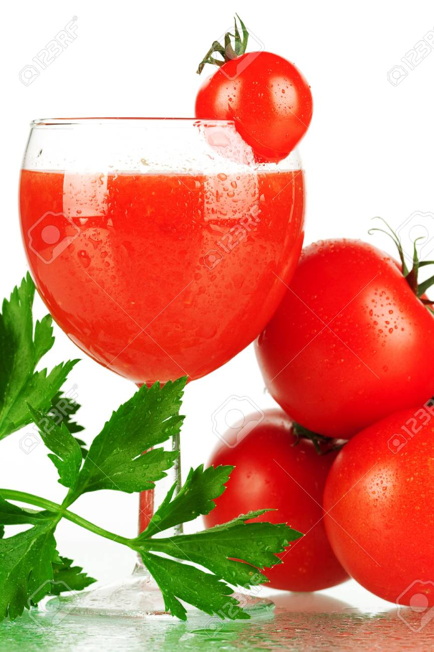 Fresh tomato juice with tomatoes and celery Stock Photo - 6034388