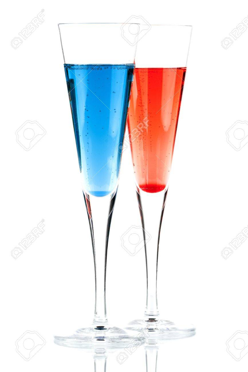 Red and Blue Champagne alcohol cocktail isolated on white background. Ingredients: 1 oz grenadine (or blue curacao) and 10 oz champagne Stock Photo - 6167987