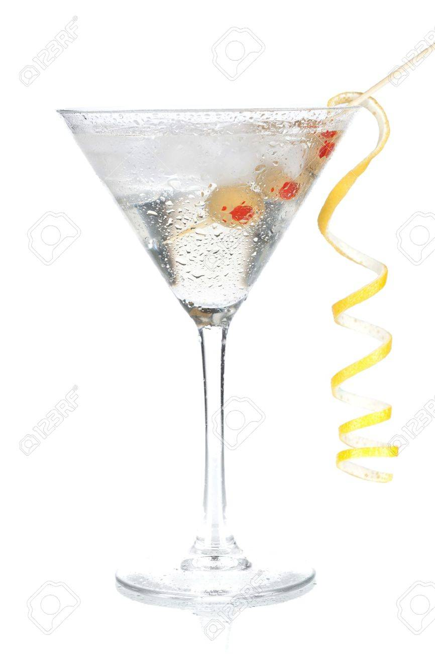 Cocktail collection - Classic martini with lemon decoration. Isolated on white background Stock Photo - 6317507