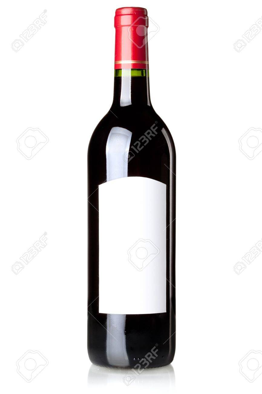 Wine collection - Red wine in bottle with blank label. Isolated on white background Stock Photo - 6399538