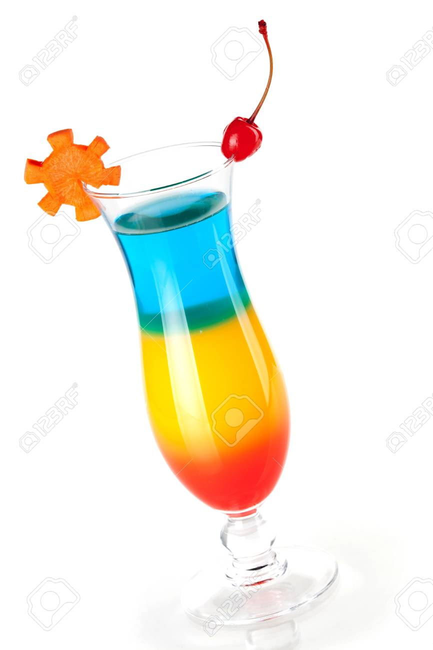 Cocktail collection - Three layered tropical cocktail with maraschino. Isolated on white background Stock Photo - 6591771