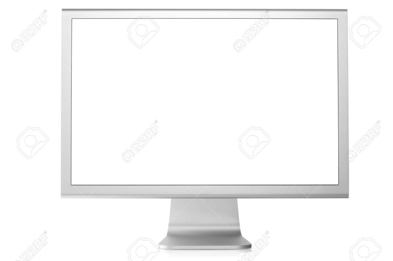 Computer Monitor with blank white screen. Isolated on white background - 6591767