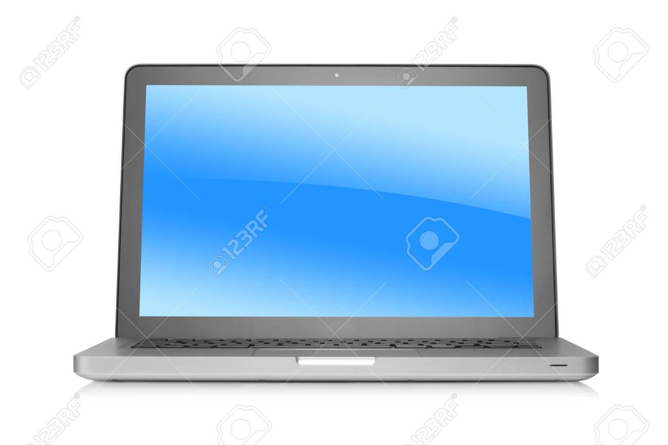 Laptop with gradient background on desktop. Isolated on white background Stock Photo - 6787507