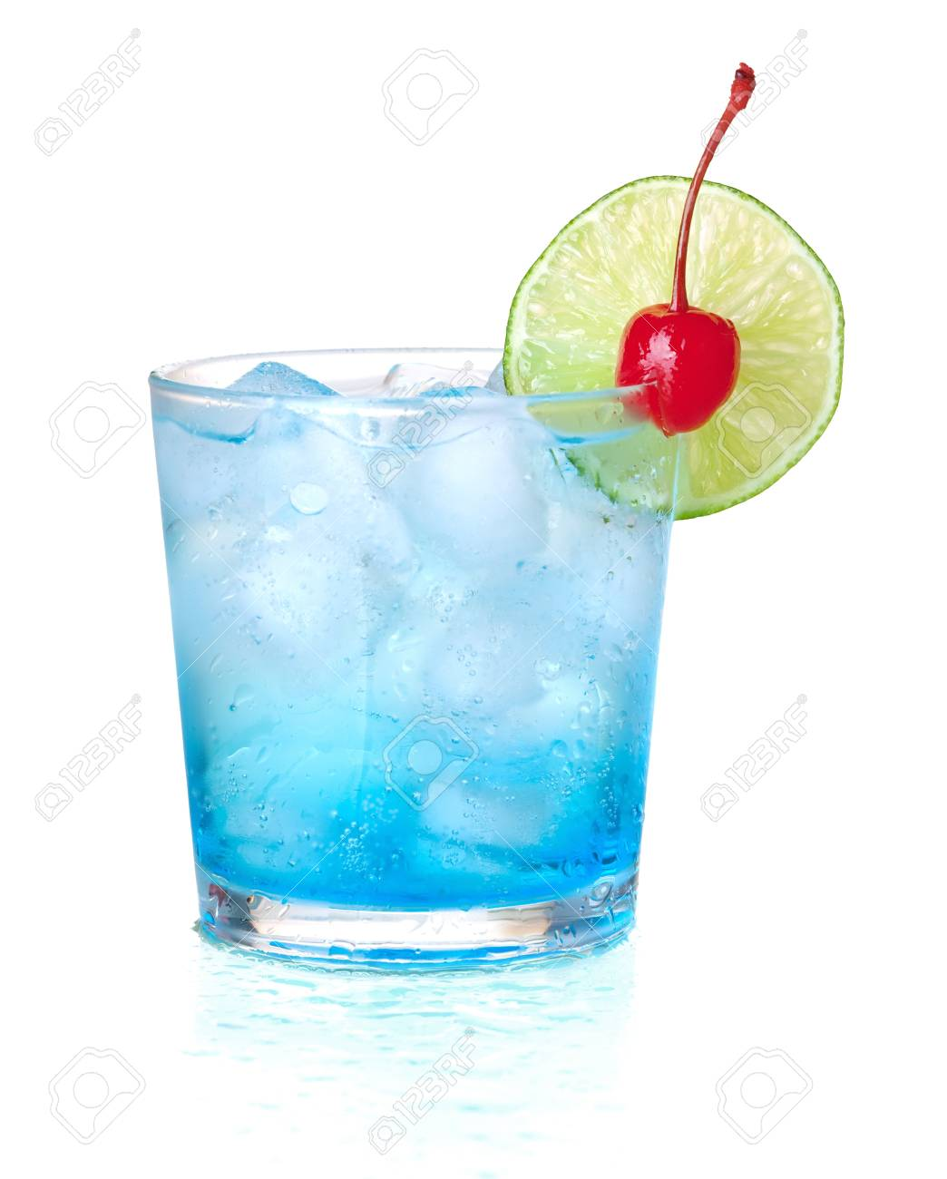Blue alcohol cocktail with maraschino and lime. Isolated on white background Stock Photo - 7001187