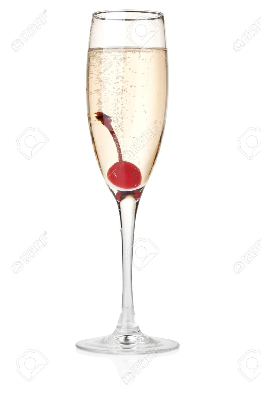Champagne with maraschino in glass. Isolated on white background Stock Photo - 7579989