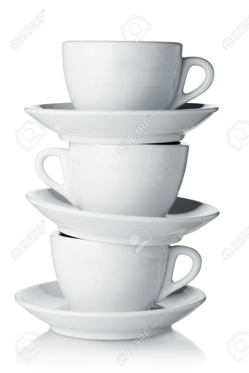 White coffee cups with saucers. Isolated on white Stock Photo - 7728229