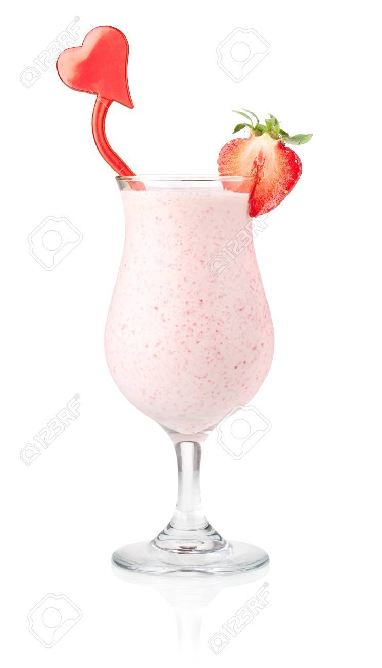 Strawberry milk cocktail with heart decoration. Isolated on white background Stock Photo - 7875883