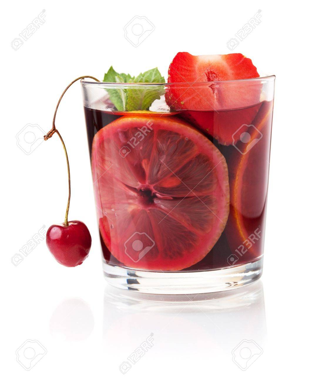 Cocktail collection - Refreshing fruit sangria with strawberry, orange and cherry. Isolated on white Stock Photo - 7875891