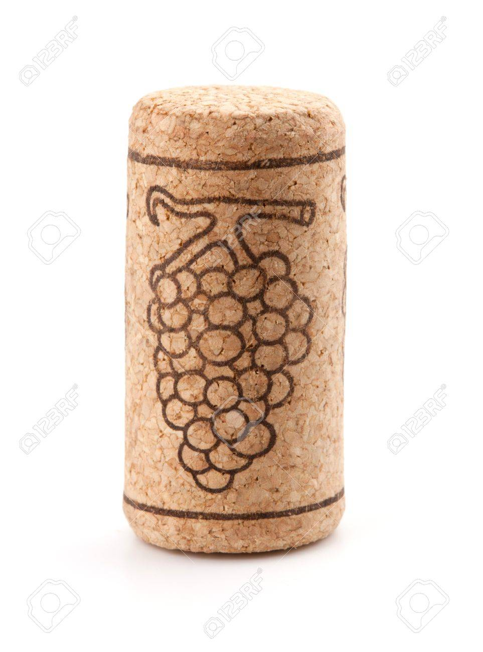 Wine cork with grape. Isolated on white Stock Photo - 8250958