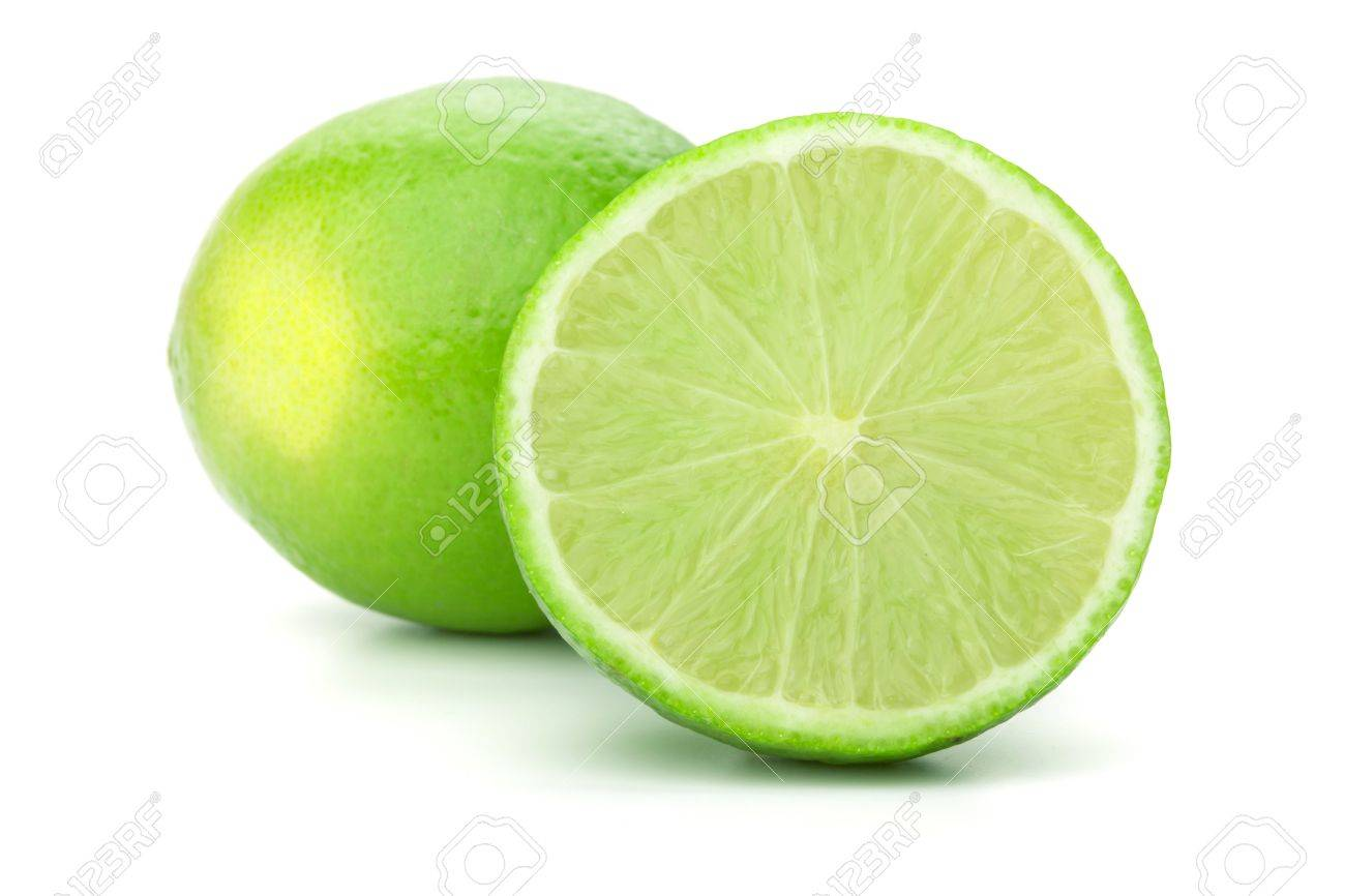 Whole and half lime. Isolated on white background Stock Photo - 8326156
