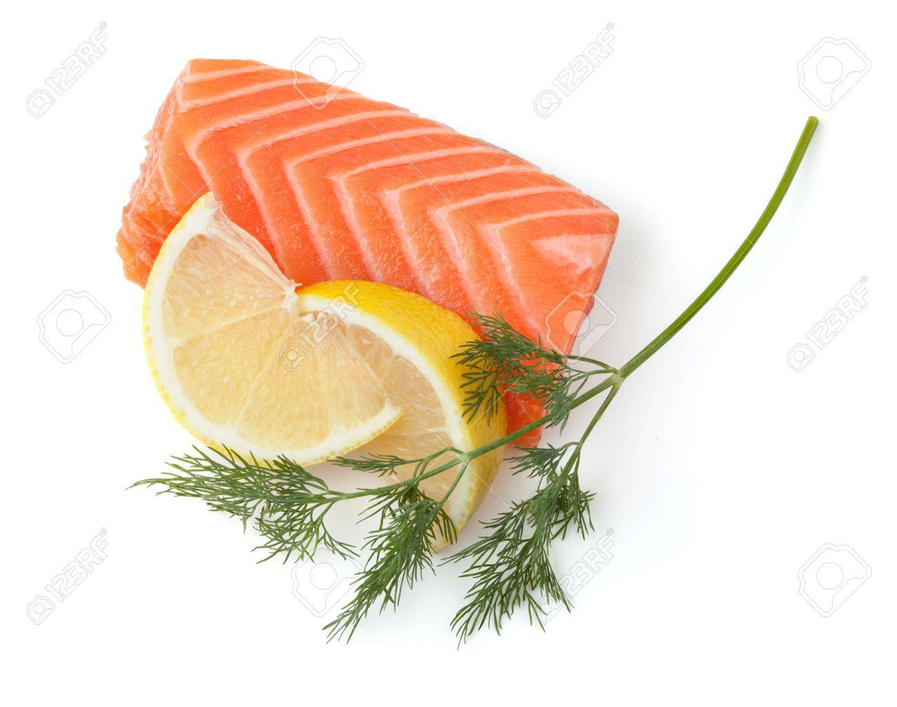 Fresh salmon steak with lemon slices and dill. Isolated on white background Stock Photo - 8326172