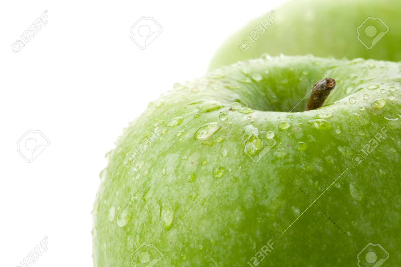 Ripe green apples closeup. Isolated on white Stock Photo - 8602615