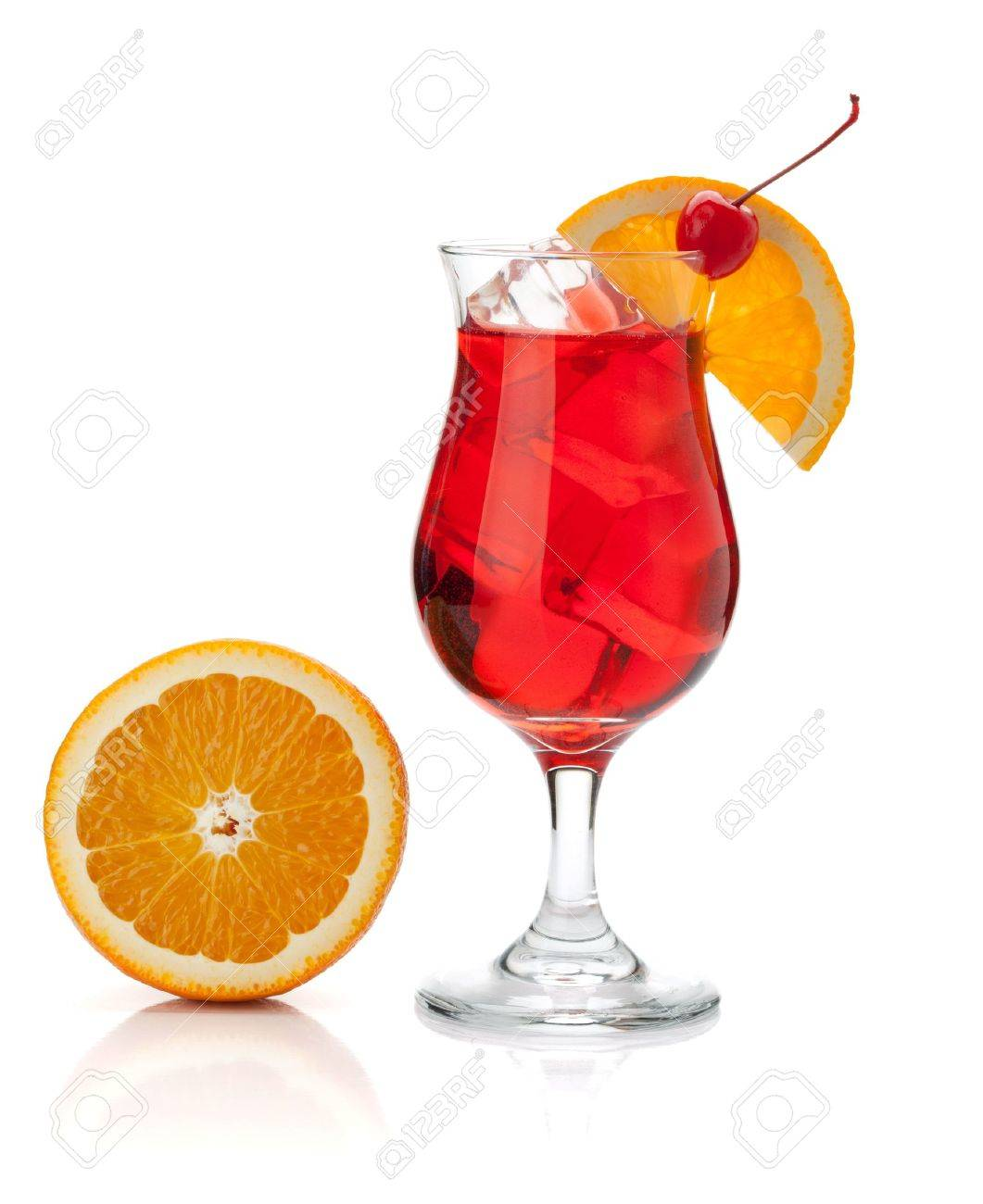 Red tropical cocktail with orange and maraschino. Isolated on white Stock Photo - 8602598