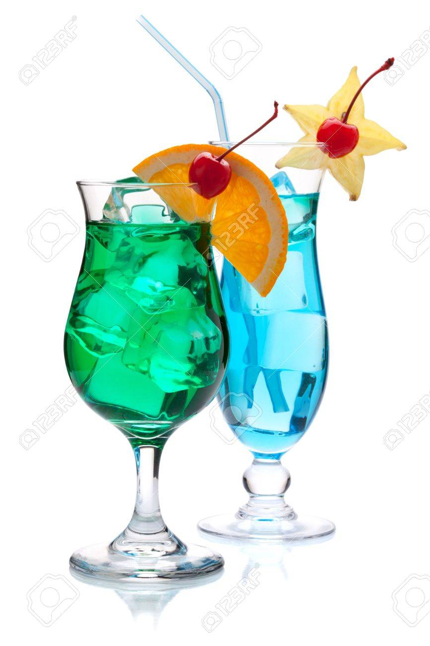 Two tropical cocktails. Isolated on white background Stock Photo - 8650729