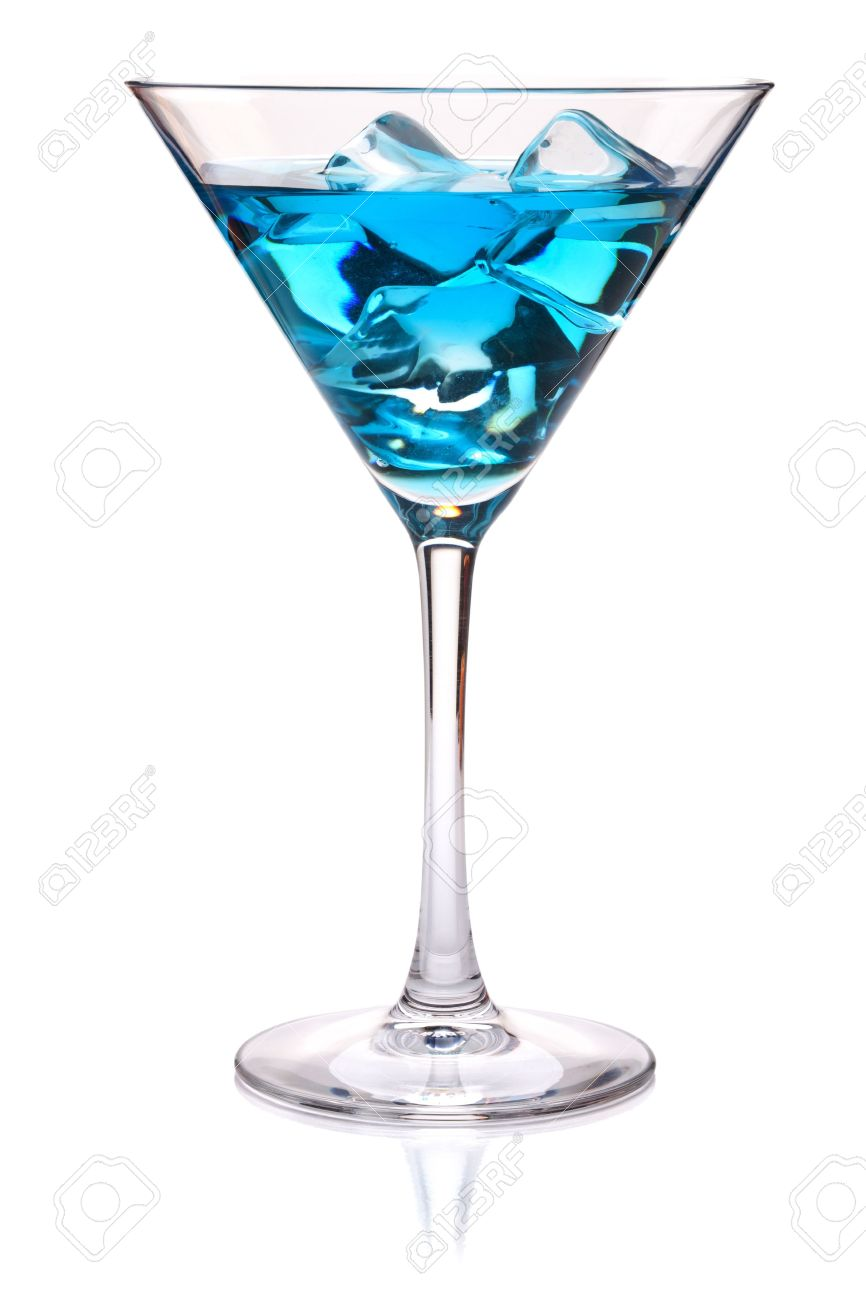 Blue tropical cocktail in martini glass. Isolated on white Stock Photo - 8936343