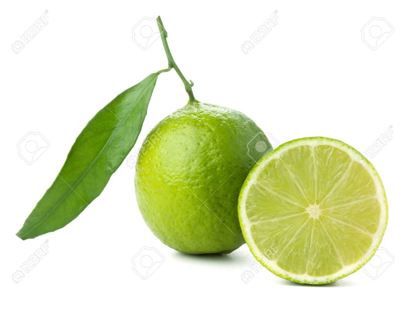 Fresh lime with green leaf. Isolated on white Stock Photo - 9103940
