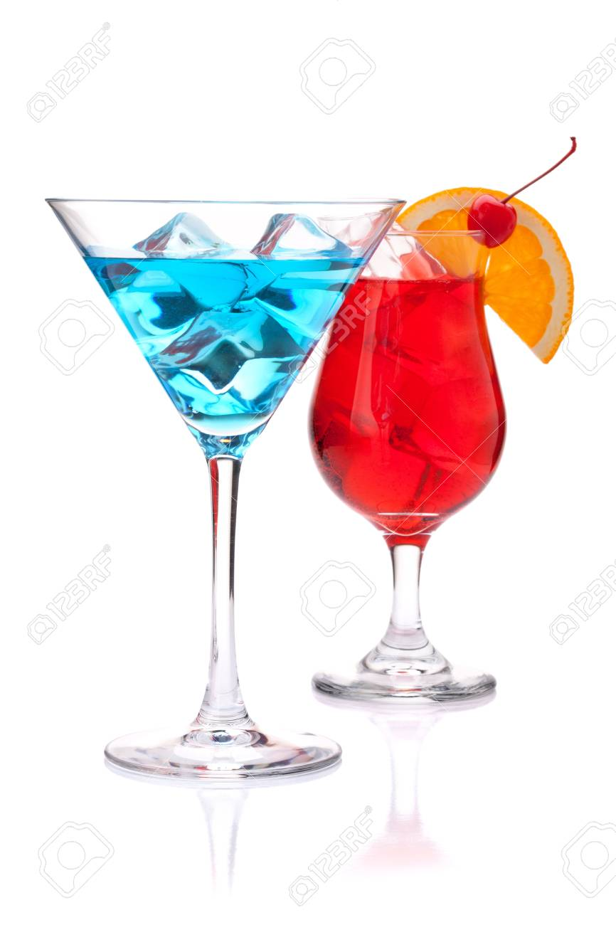 Two tropical cocktails: blue and red. Isolated on white background Stock Photo - 9248307