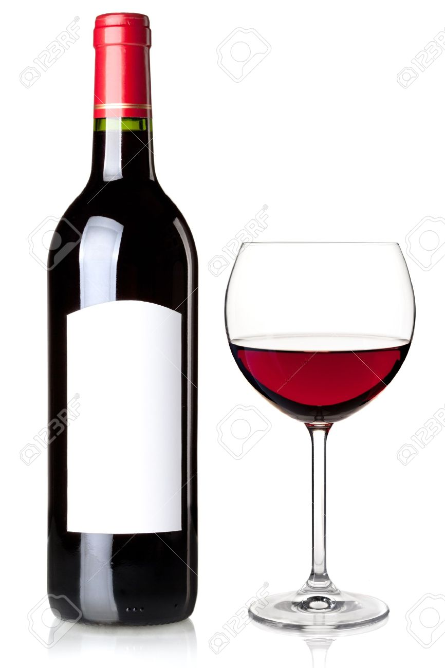 red wine in bottle with blank label and glass isolated on white background stock photo bottle red wine
