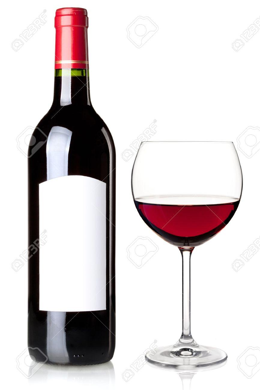 Vin Rouge En Bouteille Avec Tiquette Vierge Et De Verre Isol Sur