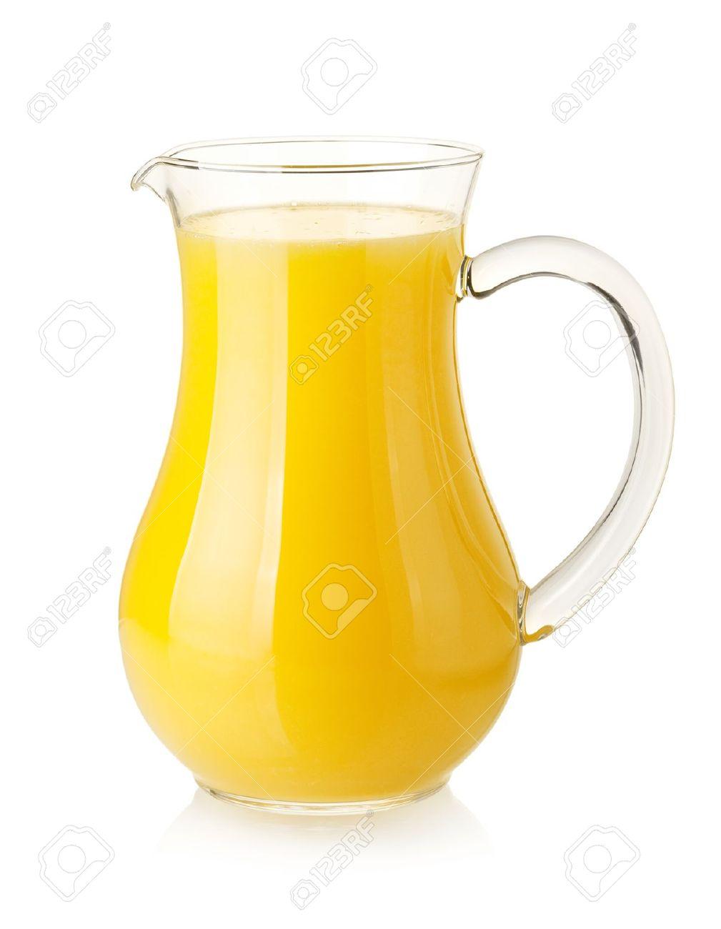 juice pitcher - orange juice in pitcher isolated on white background stock photo