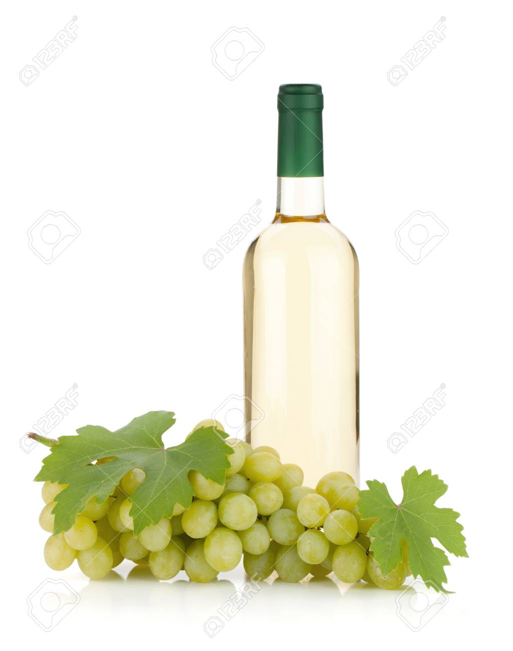 White wine bottle and grapes. Isolated on white background Stock Photo - 10366433