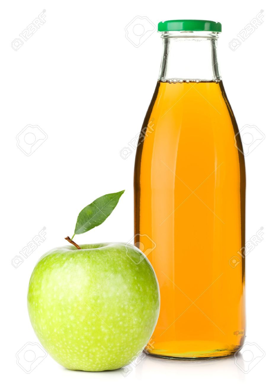 Apple White With Glasses Apple Juice in a Glass Bottle
