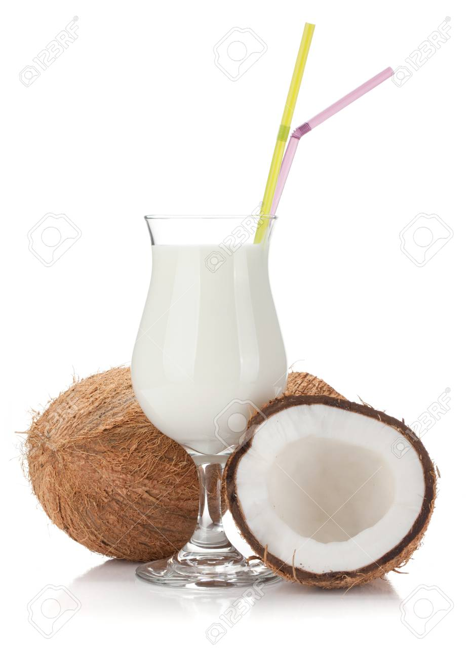 Coconut cream cocktail and coconuts. Isolated on white background Stock Photo - 13306265