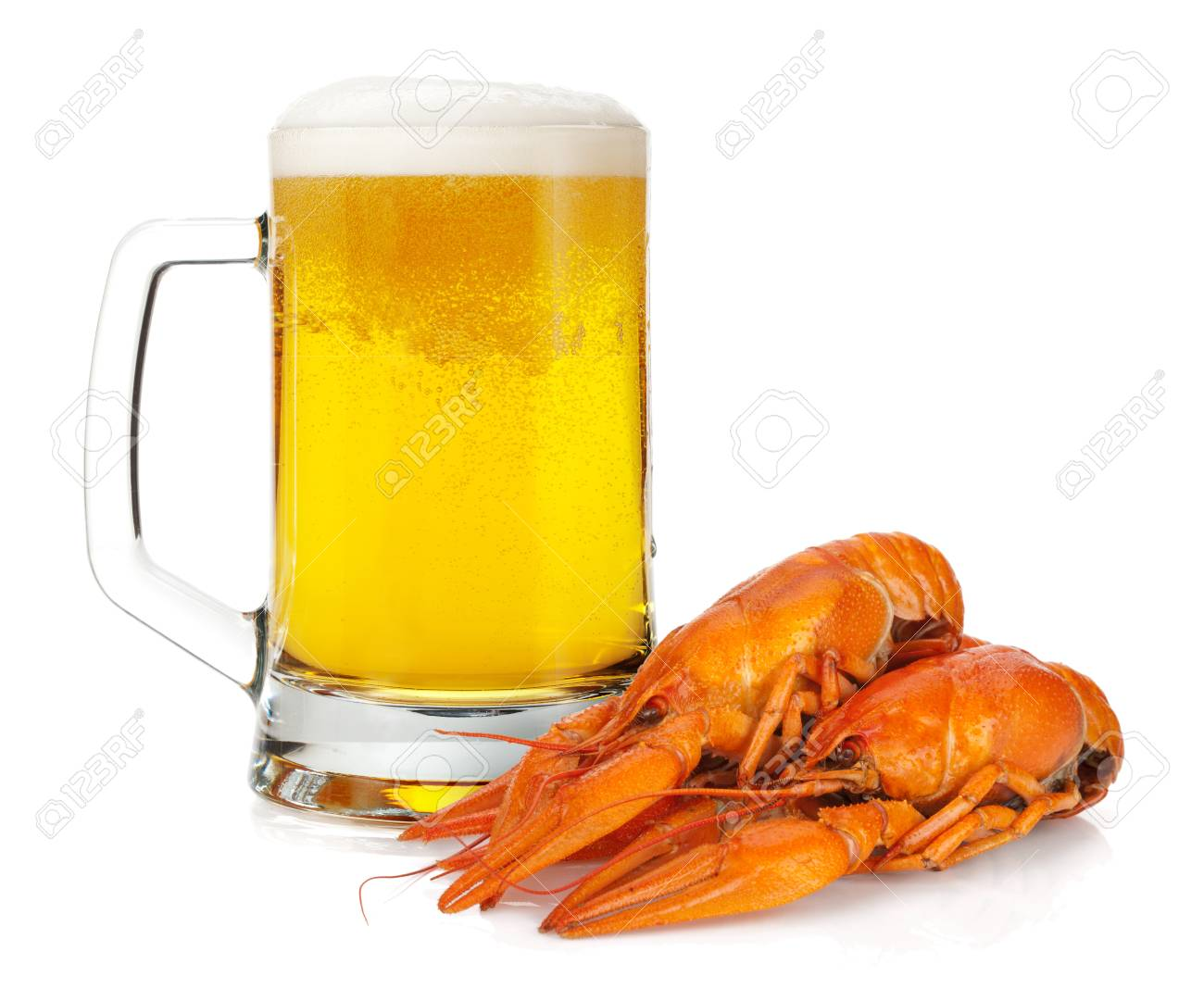 Beer mug and boiled crayfishes  Isolated on white background Stock Photo - 15715315