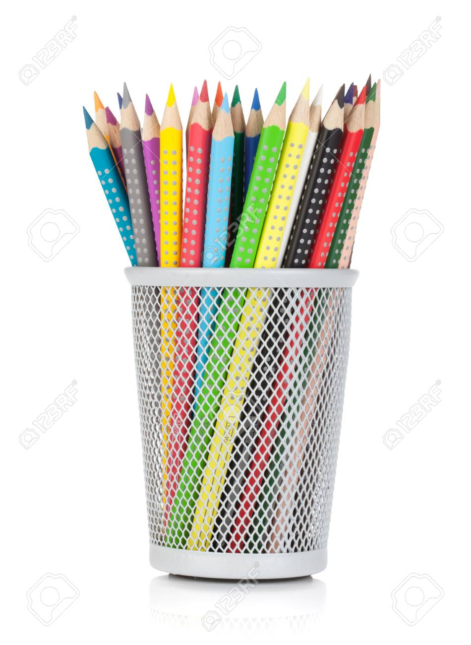 Various colour pencils in holder. Isolated on white background Stock Photo - 16125972