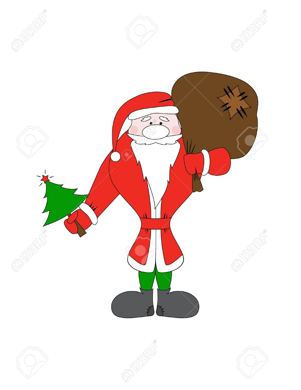 Santa Claus with christmas tree and gift bag Stock Vector - 16245051