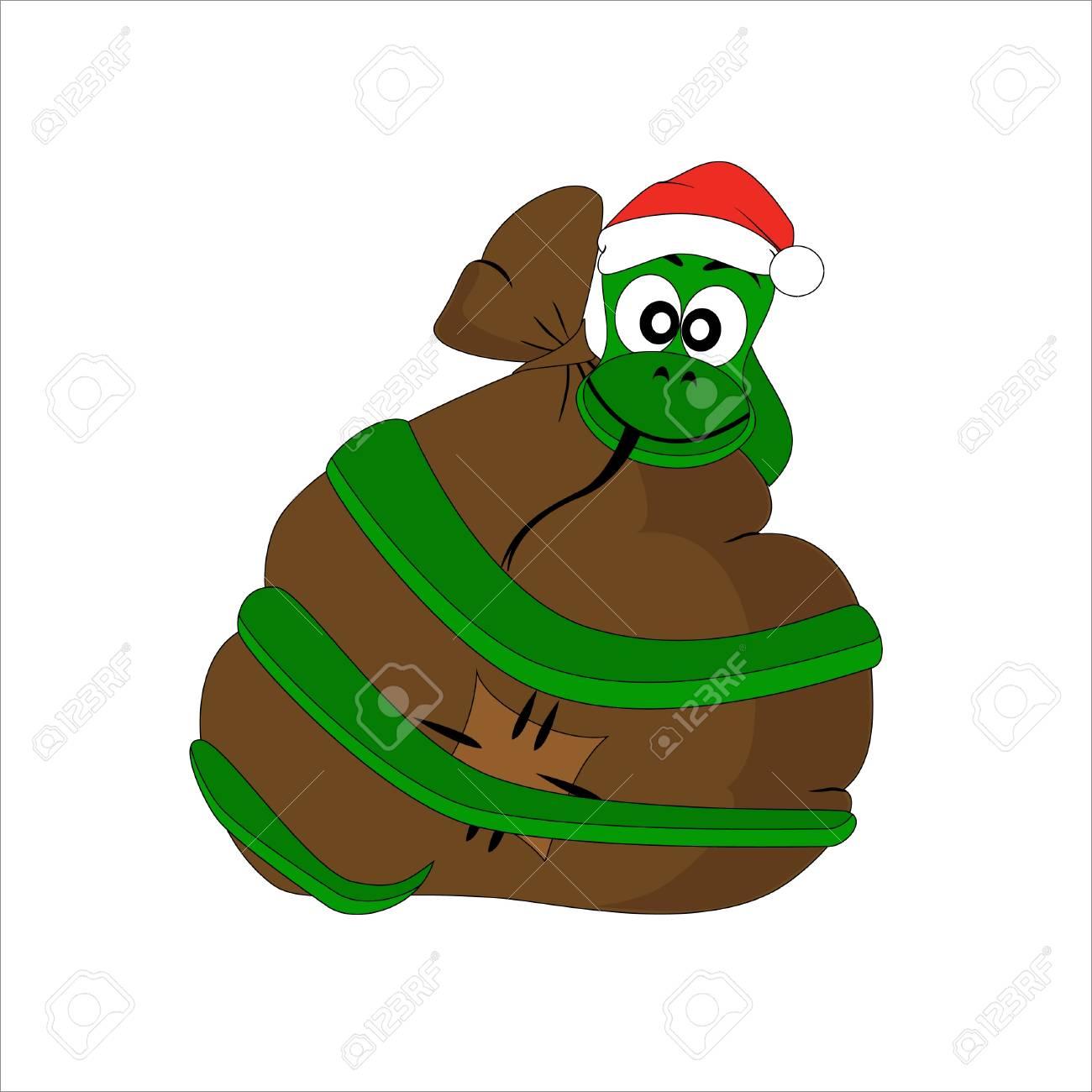 Weihnachten Schlange Mit Geschenktüte. Vektor-Zeichen Lizenzfrei ...