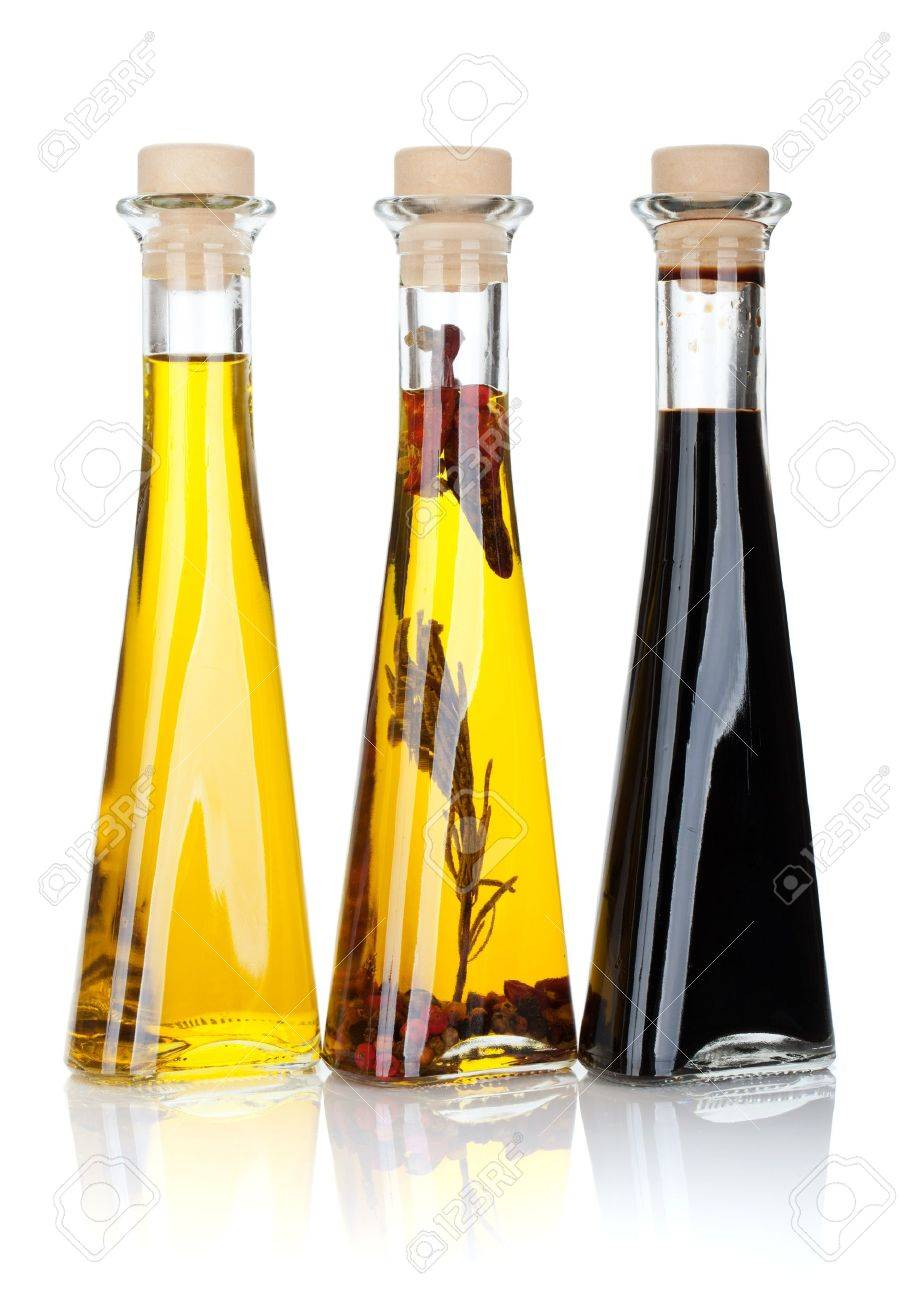 Olive oil and vinegar bottles. Isolated on white background Stock Photo - 19684796