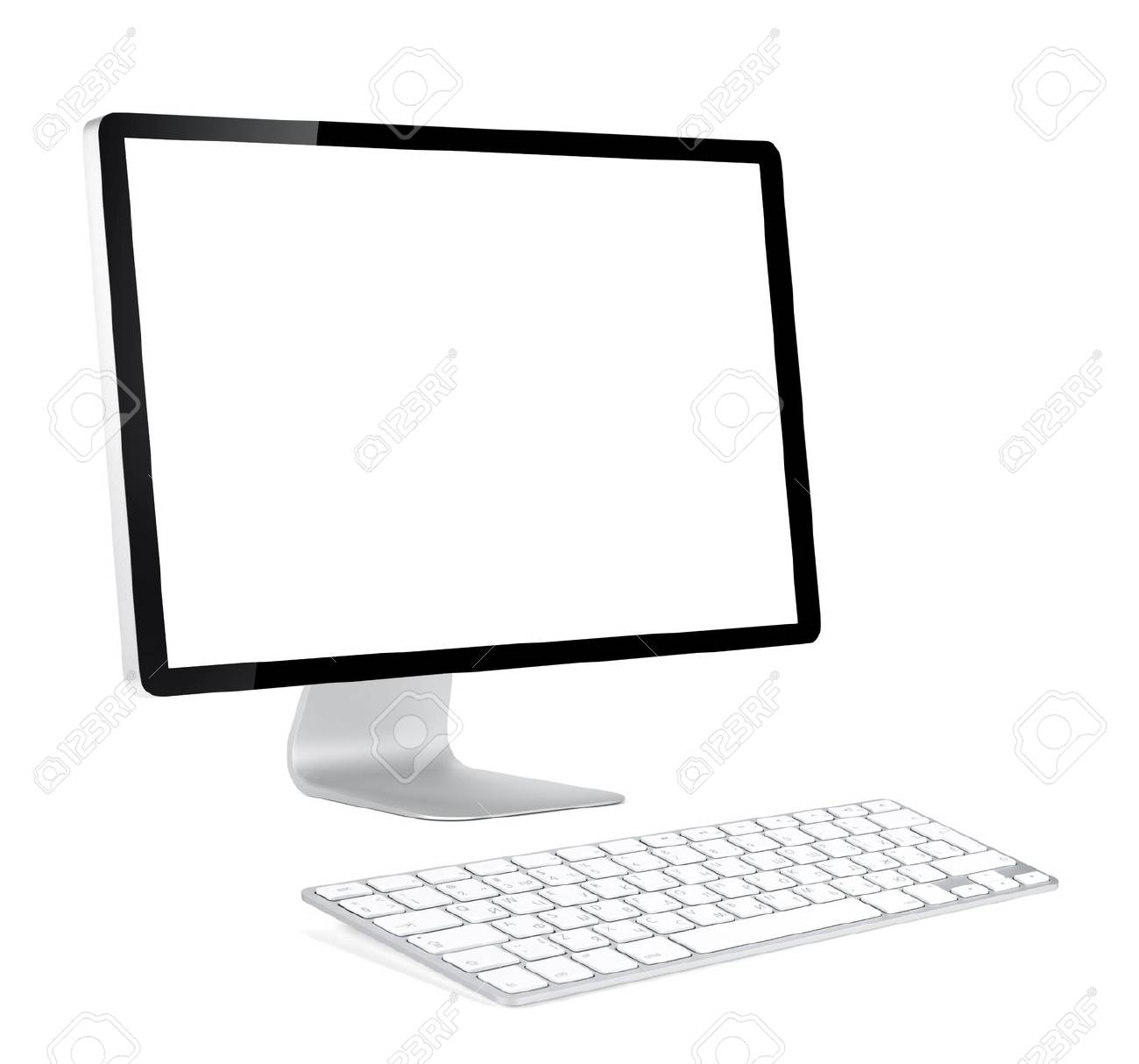White Wireless Computer Monitors Data Wiring Diagram How To Make A Sixtiesstyle 40w Audio Amplifier Circuit Display With Blank Screen And Keyboard Front Rh 123rf Com Monitor Connection Best