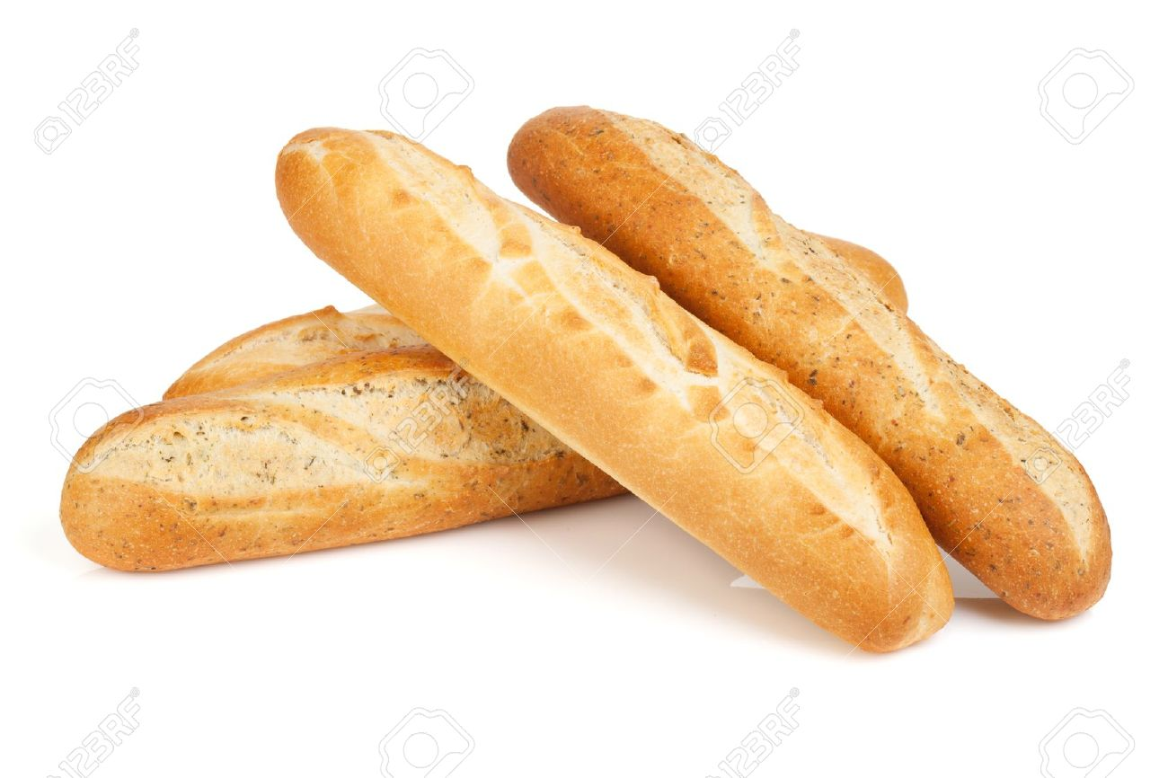 Various Of French Baguette Isolated On White Background Stock Photo