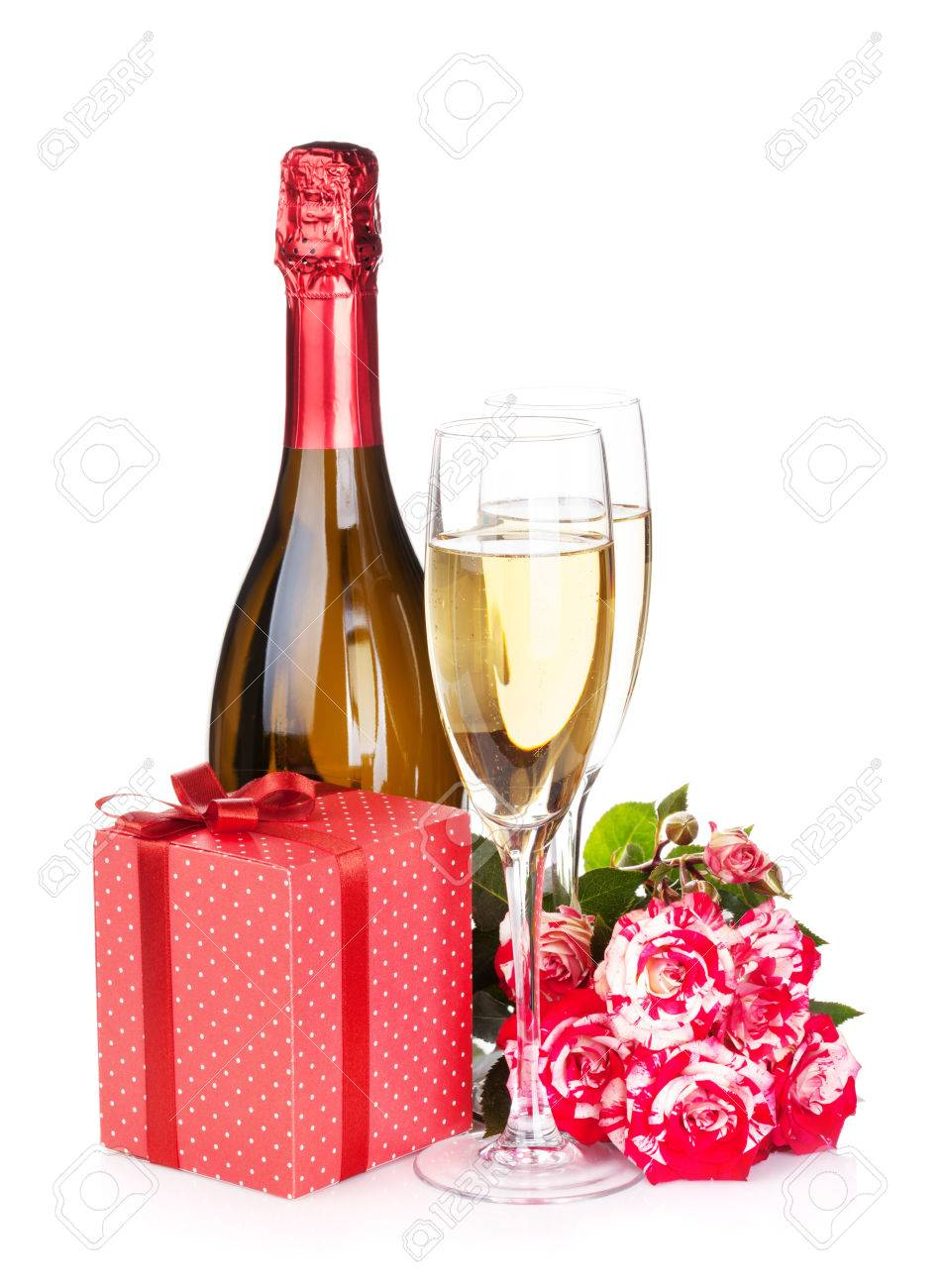 Ch&agne bottle two glasses gift box and red rose flowers. Isolated on white  sc 1 st  123RF Stock Photos & Champagne Bottle Two Glasses Gift Box And Red Rose Flowers ... Aboutintivar.Com