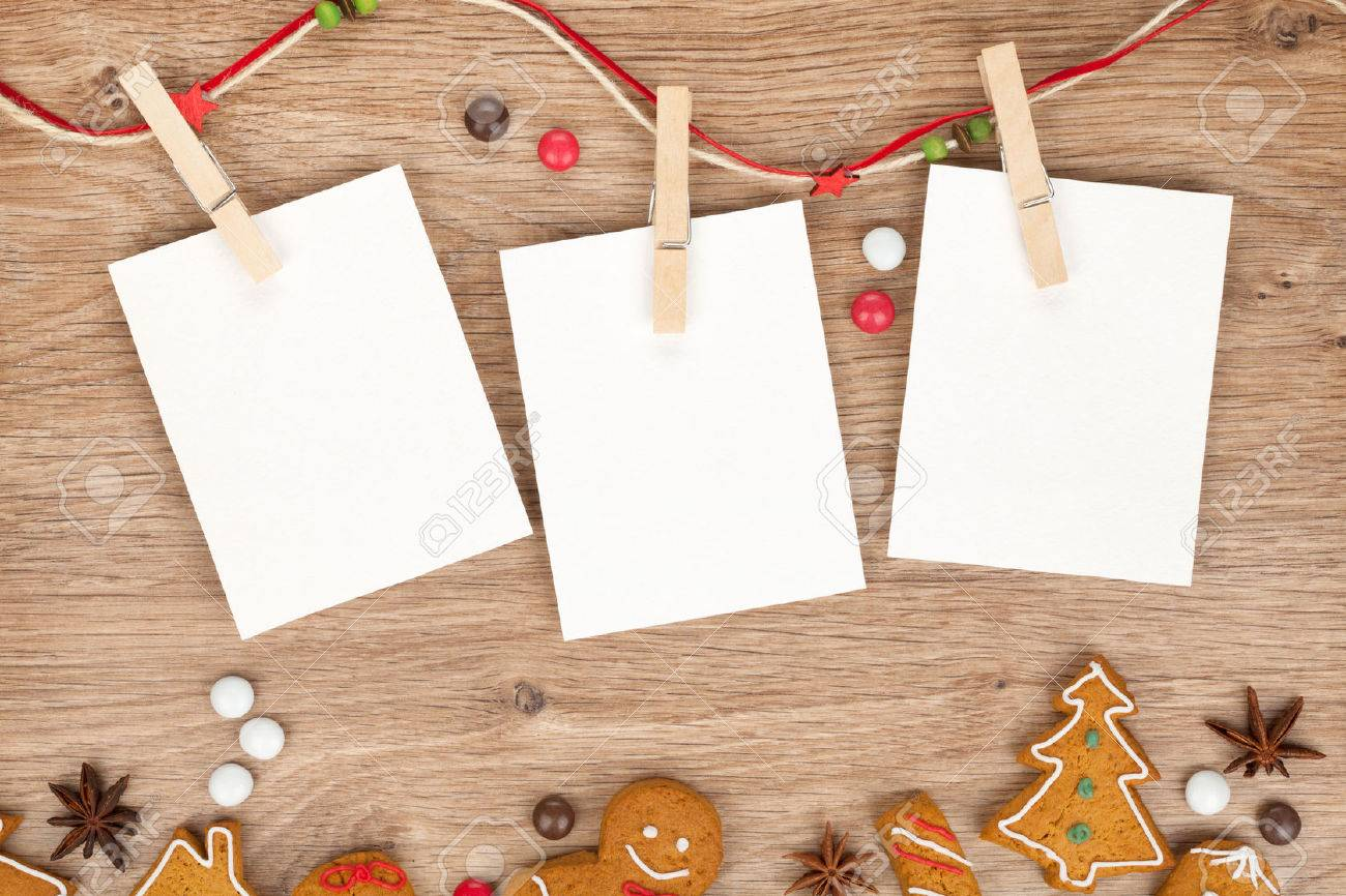 Blank Christmas Photo Frames With Homemade Gingerbread Cookies Stock ...